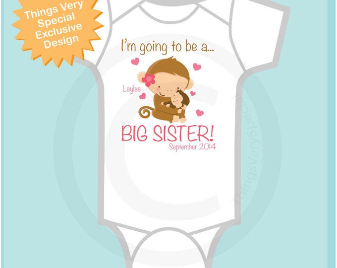 Girls Personalized I'm Going to Be A Big Sister Onesie or shirt Due Date Name Little Brother, Little Sister or Unknown Sex Baby (10252012a1)