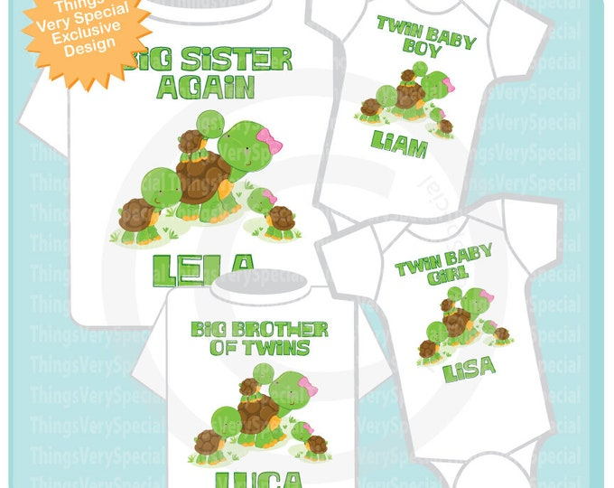 Turtle Matching Sibling set, Big Sister Again Shirt, Big Brother of Twins Shirt and twin boy and girl Onesies 06242019a