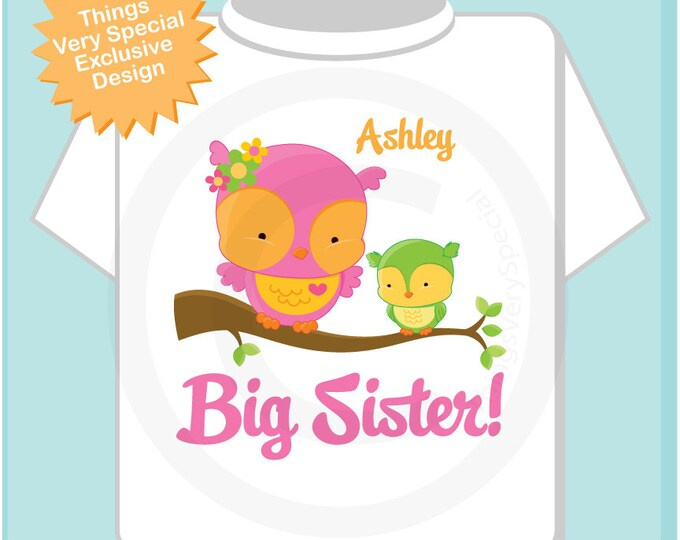 Big Sister Shirt, Big Sister Owl Tee Shirt or Big Sister Onesie Pregnancy Announcement, Owl Big Sister