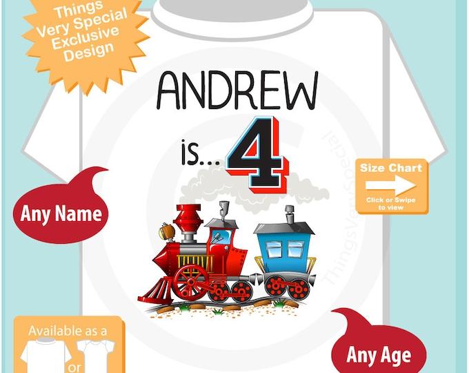 Train Birthday Boy Shirt - 4th Birthday Shirt, Personalized Boys Fourth Birthday Shirt with Child's Name and age 11162018a