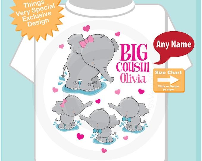 Elephant Big Cousin Shirt with triplets 2 boys 1 girl, Big Cousin Elephant Tee Shirt or Big Cousin Onesie Pregnancy Announcement (12292016a)