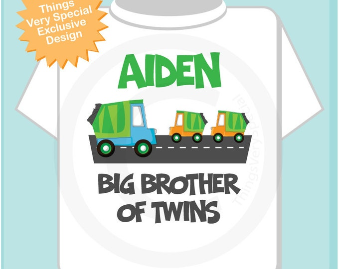 Personalized Big Brother of Twins Garbage Truck Tee Shirt or Onesie (09052013a)