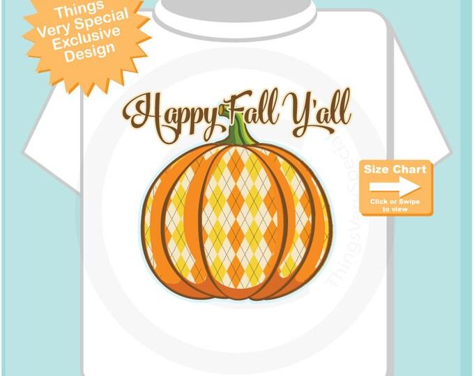 Happy Fall Y'all Plaid Pumpkin Halloween Adult Tee shirt 10092015c