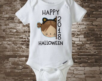 Happy Halloween 2018 Girl with Cat Costume Onesie Bodysuit or Shirt, Cute Cat Costume Happy Halloween 2018 shirt or Onesie 09262017g