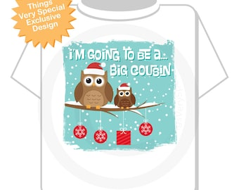 Girl's I'm Going To Be a Big Cousin Owl Shirt or Onesie Winter Christmas Scene Pregnancy Announcement (11272012d)