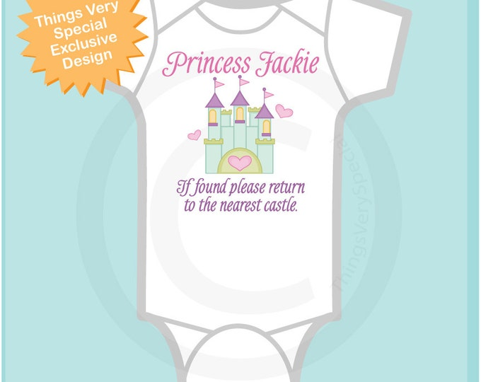 Personalized Princess Onesie, If Found Please Return to the Nearest Castle Shirt or Onesie for Toddlers and Kids (09232010b1)