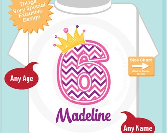 Sixth Birthday Shirt, Pink Chevron 6 Birthday Shirt, Any Age Personalized Girls Birthday Shirt Pink Age and Name Tee for kids (04152015d)