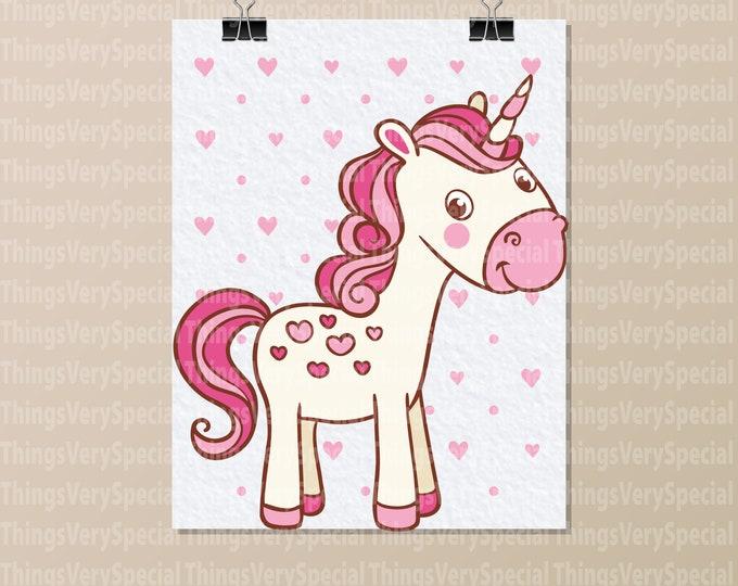 """Unicorn Art Print, Children's Room Art Prints, Cute Unicorn Art Print. 8.5"""" x 11"""" Art Print for Children's Room. 09242019m"""