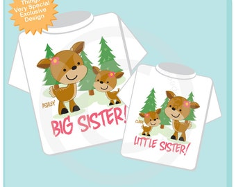 Set of Two, Personalized Big Sister and Little Sister Woodland Deer Doe Tee Shirts or Onesies 04082013b5