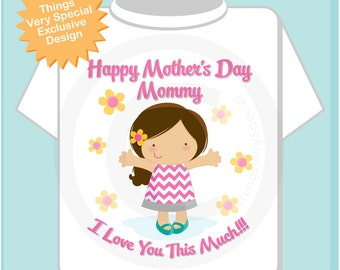 Girl's Happy Mother's Day Mommy Shirt or Onesie for kids, Says I Love You This Much