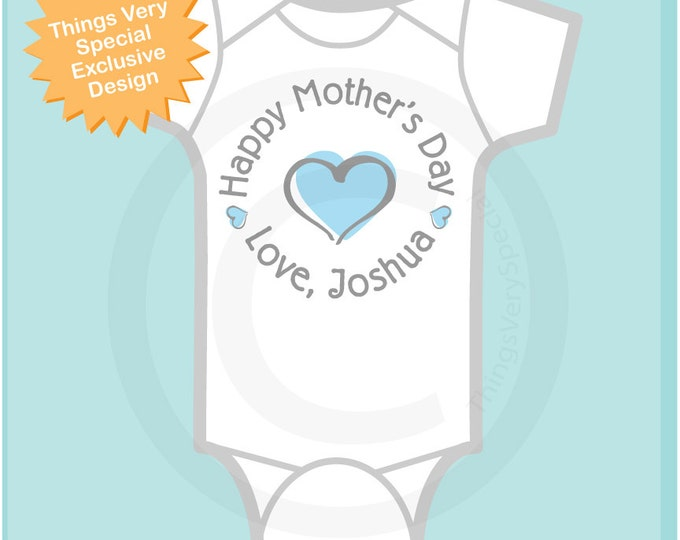 Happy Mother's Day Onesie,  Personalized Mothers Day Onesie or Tee shirt with Blue Heart, New Mom Gift (03112014d)