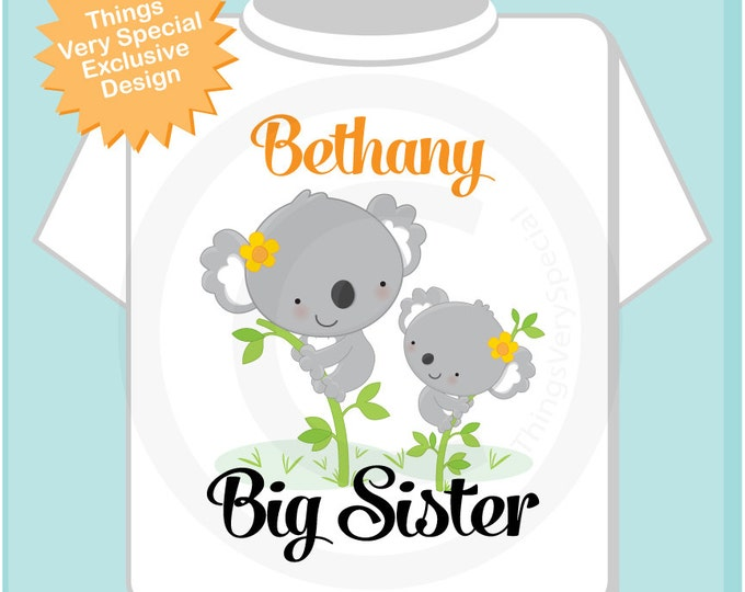 Girl's Personalized Big Sister Shirt or Onesie with Cute Koala Bears Big Sister and Little Sister, Both girls 02132014e
