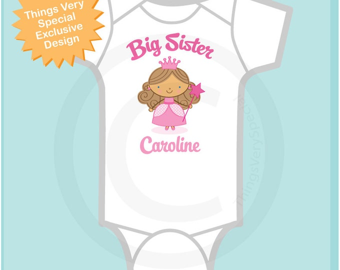 Princess Big Sister Onesie, Personalized Big Sister Shirt or Onesie, Big Sister Shirt for Toddlers and Kids 06112012a1