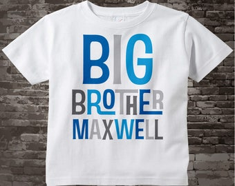 Personalized Big Brother Tshirt or Onesie, Infant, Toddler or Youth sizes with Blue and Grey Letters 05062013a