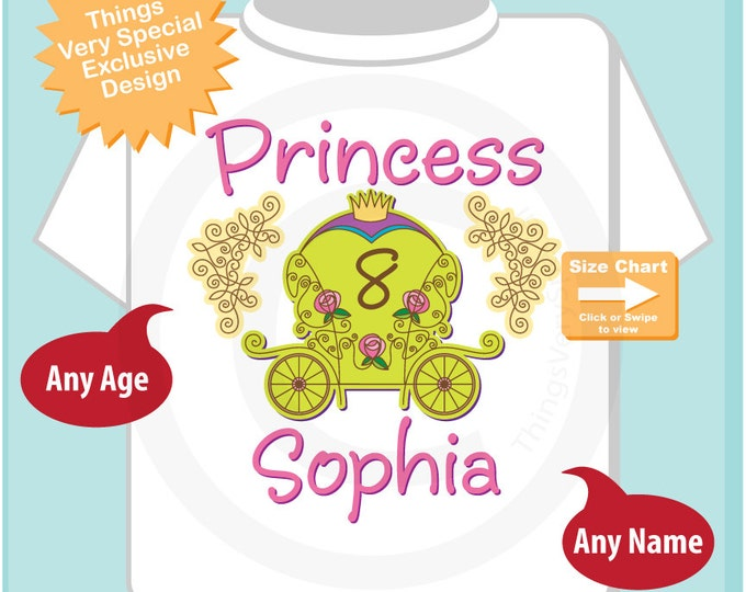 8th birthday Princess Shirt, Personalized Princess Carriage Shirt, Princess with Age Shirt for Toddlers and Kids 08302014bz