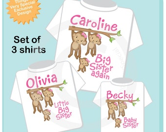 Big Sister Little Sister Outfits, Personalized Sibling Monkey Shirt Set, Big Sister Again, Little Big Sister and Baby Sister (02142014e)