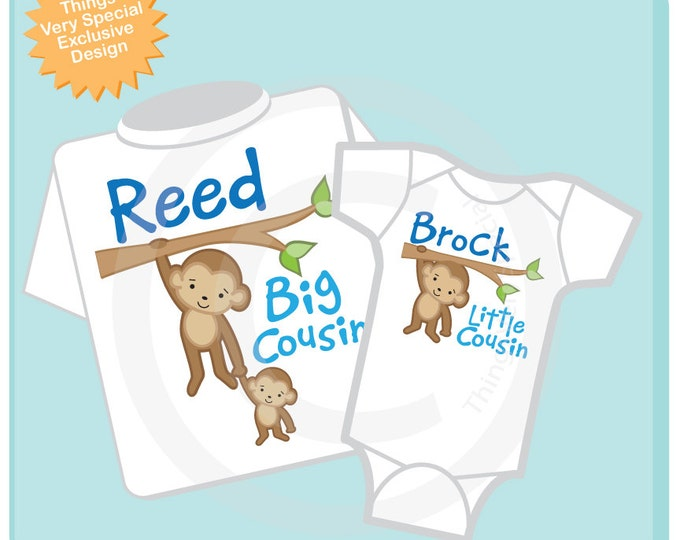 Big Cousin Little Cousin Shirt set of 2, Sibling Shirt, Personalized Tshirt with Cute Monkeys (06292012b)