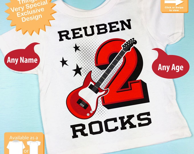 Boy's Red Guitar Birthday Shirt or Onesie, Personalized Birthday Shirt, Red Guitar Shirt with Age and Name (09292015b)
