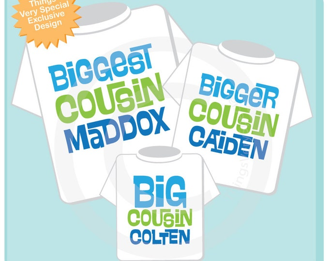 Set of 3 Biggest Cousin, Bigger Cousin and Big Cousin Shirt Personalized Pregnancy Announcement 10072013b