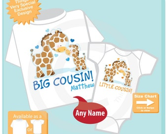 Set of Two - Big Cousin Little Cousin Set of 2 - Gender Neutral baby Giraffe, Boy Big Cousin - Announcement - Price is for Both 12022015a