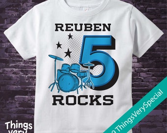 5th Birthday, Boy's Blue Drums Birthday Shirt or Onesie, Personalized Birthday Shirt, Drummer Shirt with Age and Name 02072019b
