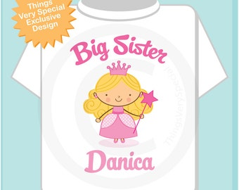 Personalized Blonde Princess Big Sister Shirt or Onesie for Toddlers and Kids (09062012c)