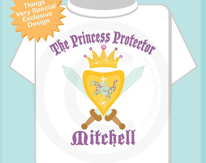 Boy's Personalized Princess Protector Big Brother Tee Shirt or Onesie with Your Child's Name (01172011a)