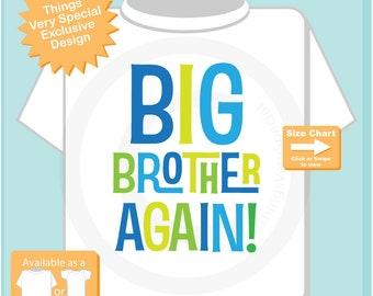 Big Brother Again! Shirt or Onesie , Infant, Toddler or Youth sizes Pregnancy Annoucnement 06072018a