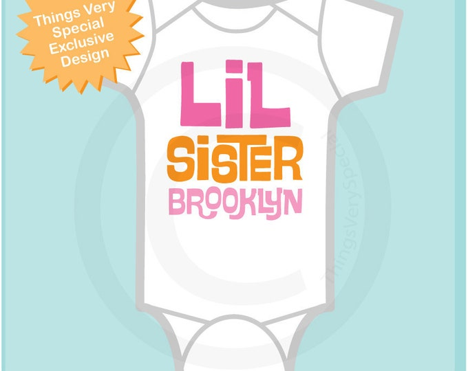 Girl's Little Sister Onesie or tee shirt, Personalized pink and orange letters 06142012e