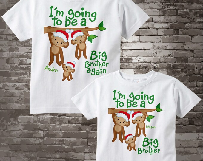 Big Brother Again and Big Brother Christmas Outfit tops - Big Brother Again Shirt - Sibling Outfits - Price is for both items - 11022017b