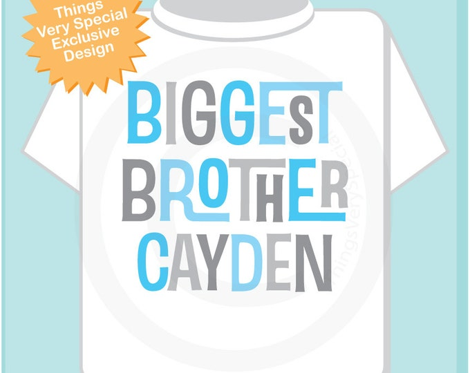 Personalized Biggest Brother Tshirt or Onesie, Infant, Toddler or Youth sizes with Light Blue and Grey Letters (10312013a)