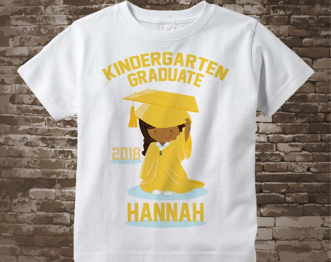 Kindergarten Graduate Shirt, Kindergarten Graduation Shirt, Personalized for your little girl with year and name 05192017e