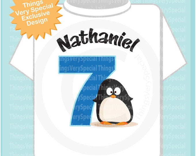 7th Penguin Birthday Shirt, Personalized Seventh Birthday Boy Penguin Theme Tee Shirt 03152019f