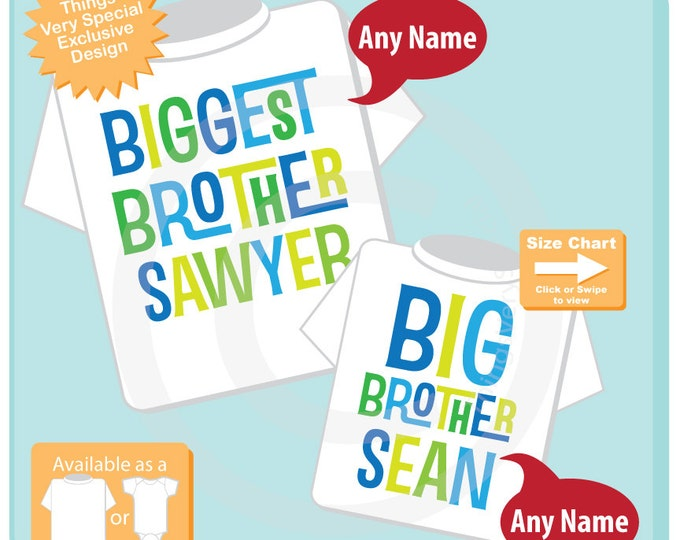 Biggest Brother and Big Brother Shirt set of 2, Sibling Shirt, Personalized Tshirt with Blue and Green Letters (07232015b)