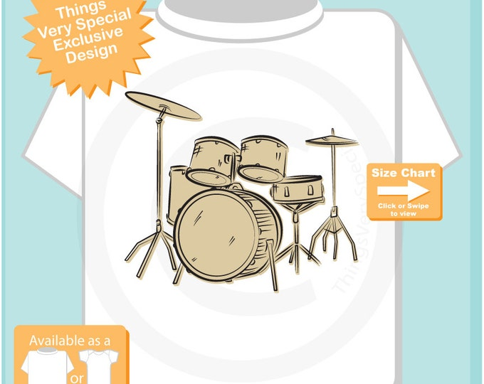 Drummer Shirt, Set of Drums Sketch T-Shirt or Onesie, Music Musician shirt (10222015b)