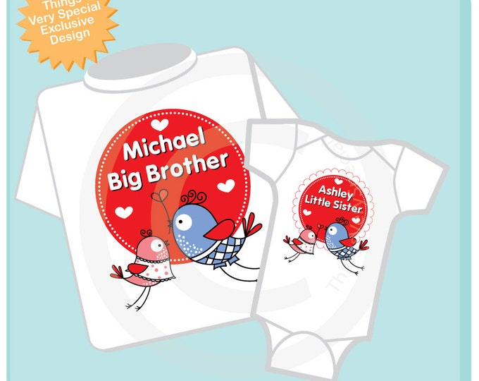 Valentine's Big Brother and Little Sister Shirt or Onesie Set of Two Personalized Pregnancy Announcement - Heart tshirt kids (01292014a)