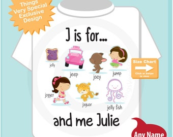 Girl's Personalized J is for Shirt or Onesie Personalized with childs name with everything that starts with J, alphabet learning 12012015g
