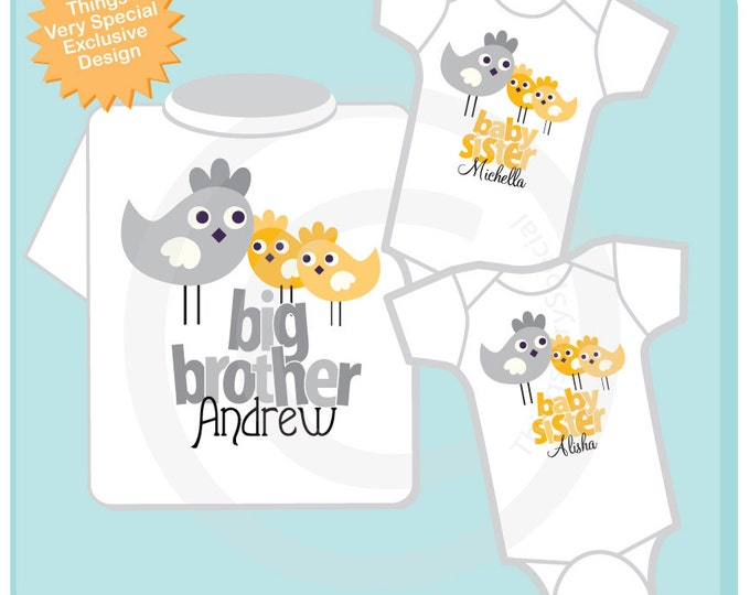 Set of Three Personalized Big Brother Grey Bird with Twin Little Sister Yellow Birdies Tee Shirts or Onesies (10032012a)