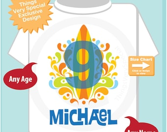 Boy's Ninth Birthday Surfing Big number 9 Shirt Personalized Birthday Boy Theme Tee Shirt or Onesie 07222014a