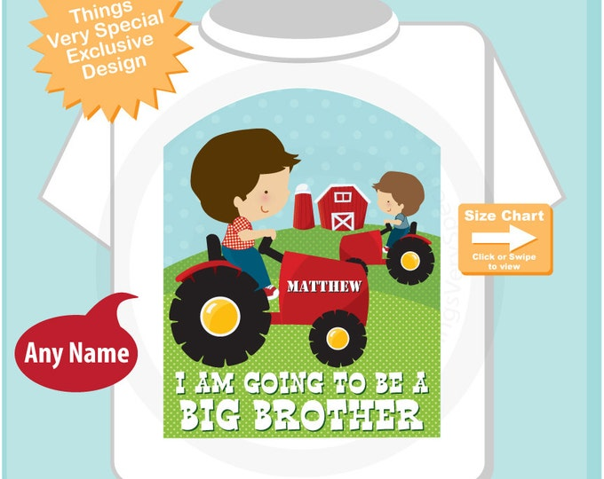 Boy's Personalized I'm going to be a Big Brother with Tractor farm theme Shirt or Onesie, Pregnancy Announcement 11112014a