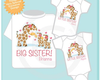 Set of Three Personalized Big Sister and Twin Baby Little Sister Giraffes Shirt and Gerber Brand Onesie (R)