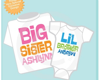 Set of 2 Big Sister and Little Brother Shirt Personalized Infant, Toddler or Youth Tee Shirt or Onesie Pregnancy Announcement (02042014h)
