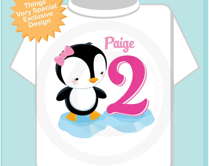 Girl's Second Birthday Penguin Shirt Personalized Birthday Girl Penguin Theme Tee Shirt or Onesie (08262013a)