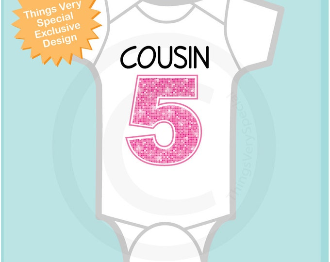 Cousin number 5, Additional Cousin Number, Big Pink Number 5 for Fifth Cousin, Tee or Onesie (03202014e)