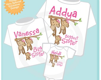 Girls Set of three Personalized Sibling Monkey Shirt Set, Biggest Sister Shirt, Big Sister,  and Little Sister, Shirt or Onesie (05122014i)