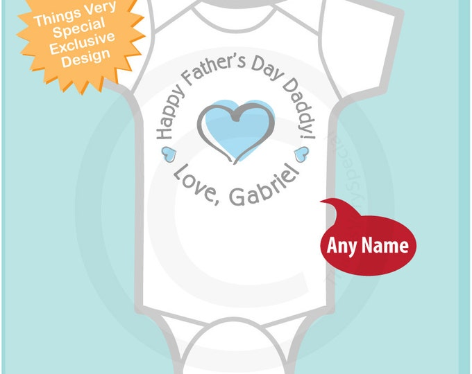 Happy Father's Day Daddy Onesie,  New Dad Gift, Personalized Fathers Day Onesie or Tee shirt with Blue Heart (06042014b)