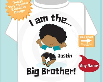 Big Brother Brown Skin Pregnancy Announcement I am the Big Brother Tee Shirt or Onesie 04032015b