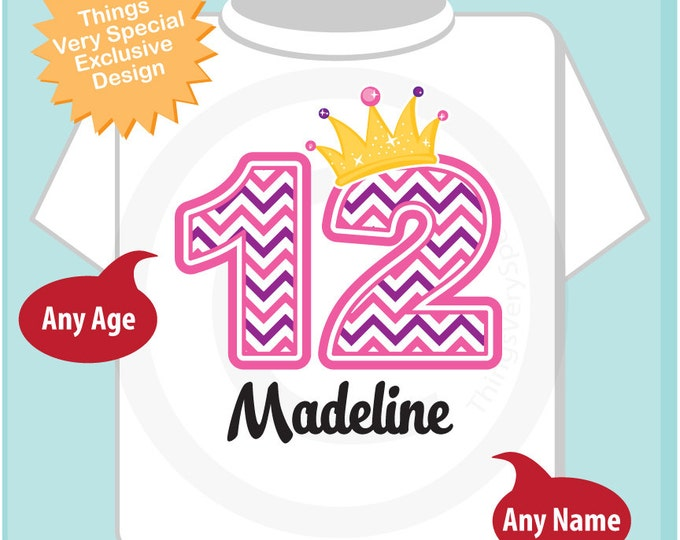Twelfth Birthday Shirt, Pink Chevron 12 Birthday Shirt, Any Age Personalized Girls Birthday Shirt Pink Age and Name Tee for kids (03302015a)