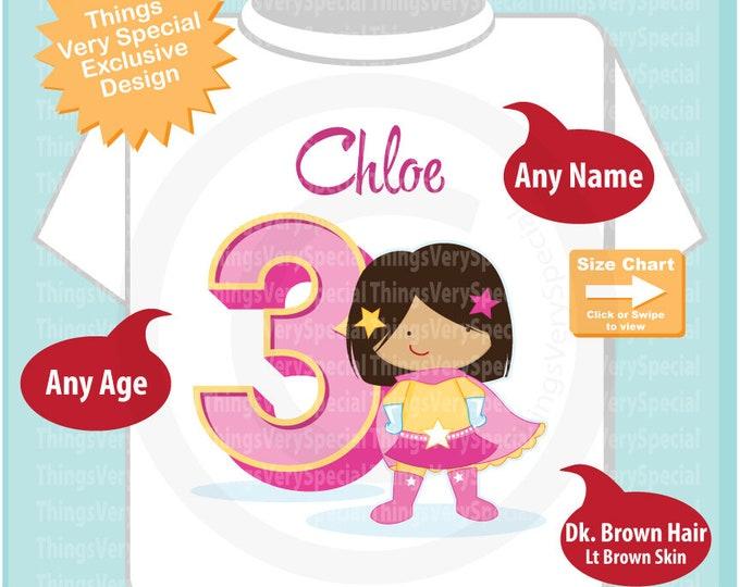 Girl's Personalized Superhero 3rd Birthday Tee Shirt with dark brown hair and light brown skin 07022019c