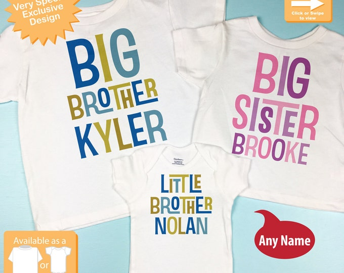 Boys and Girls Set of Three Personalized Big Brother Big Sister Shirt, and Little Brother Shirt or Onesie Pregnancy Announcement (01312014f)